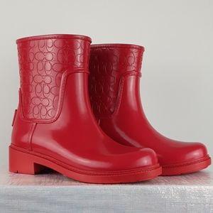 Coach Short Red Rain Boots
